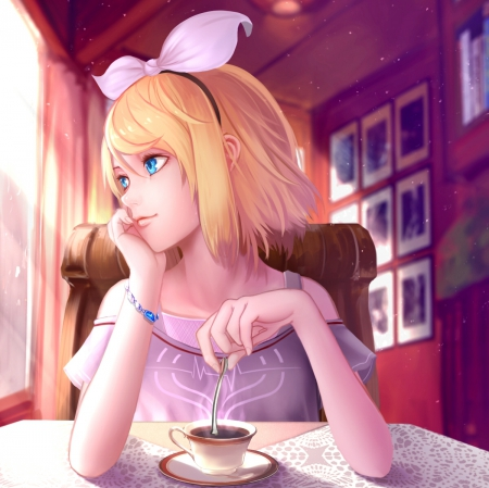Cup of Coffee - pretty, house, cg, sweet, nice, anime, beauty, anime girl, chair, vocaloids, realistic, table, lovely, blonde, kitchen, trea, short hair, cup, hd, dress, blond, home, beautiful, kagamine, vocaloid, female, kagamine rin, blonde hair, blouse, girl, coffee, rin, lady, sundress
