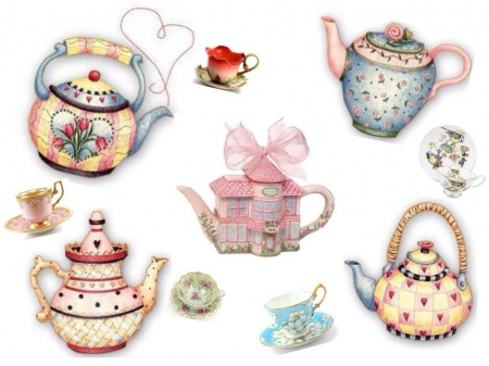 Anyone for Tea - Cups, Teapots, Colourful, Saucers