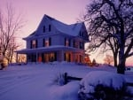 Winter Sunset over Victorian House