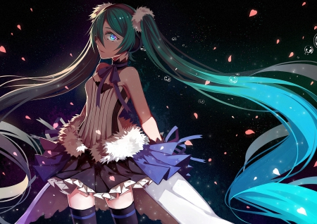 7th Dragon 2020 - vocaloid, hatsune miku, skirt, thighhighs, ponytails, anime, aqua hair, blue eyes, long hair