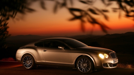 bentley continental gt - continental, bentley, sunset, gold