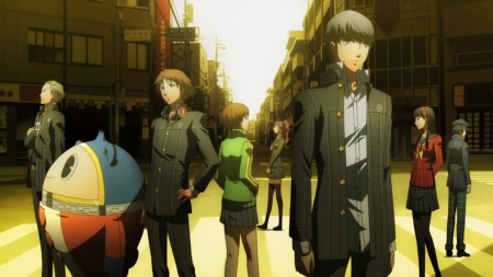 Persona 4 - pretty, guy, video game, game, beautiful, sweet, nice, group, persona, anime, beauty, anime girl, scenery, team, male, lovely, persona 4, persona four, rpg, boy, girl, scene