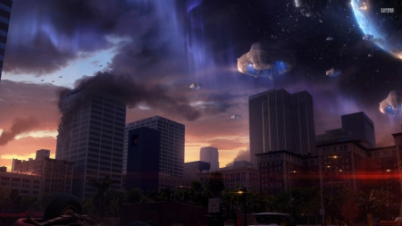 alien invasion - city, alien, invasion, spaceship