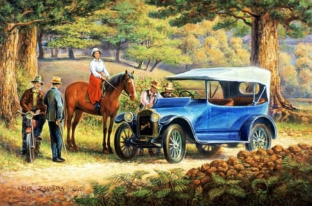 Old Buick - countryside, oldtimer, people, car, painting, horse, artwork