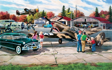 Flight School - school, cars, states, flight, painting, military, planes, american