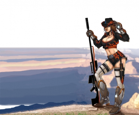 Cowgirl On A Mountain - art, female, westerns, hats, fun, women, anime, cowgirls, drawing, girls, rifles, style