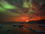 Aurora and Volcanic Light Pillar