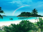 Rainbow over Beach in Malaysia