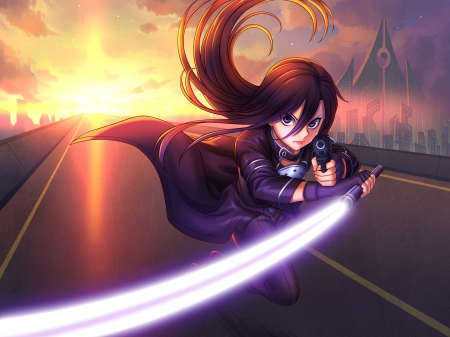 Kirito - pretty, kazuto, cg, kazuto kirigaya, run, sweet, angry, nice, fantasy, pointing, gun, ggo, anime, handsome, beauty, evening, lowing, long hair, sword, lovely, pistol, closeup, sexy, point, cool, awesome, sinister, hd, glow, splendid, guy, evil, beautiful, kirito, close up, blade, lack, hot, light, black hair, night, male, glowing, kirigaya kazuto, sword art online, kirigaya, armor, sao, boy, running, gun gale online, scene