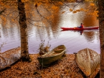 Autumn canoeist