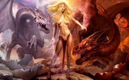 Fire and Ice - pretty, blond, dragon, woman, dragons