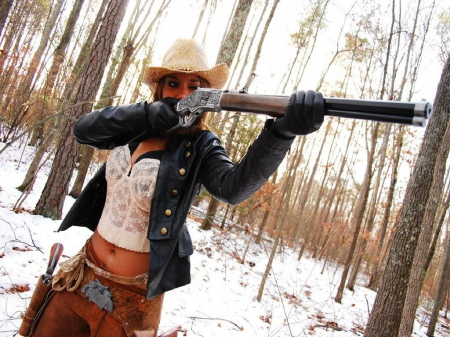 Taming The West - female, westerns, models, fun, nra, outdoors, women, cold, guns, pistols, cowgirls, famous, girls, rifles, actors