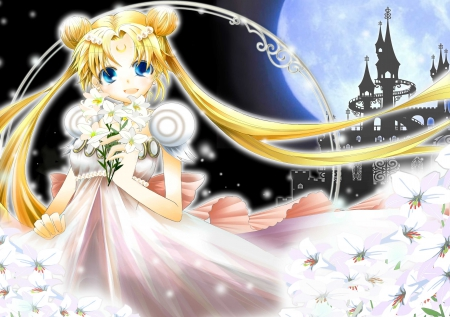 Princess Serenity - pretty, cg, adorable, sweet, floral, nice, anime, sailor moon, beauty, anime girl, long hair, lovely, twintail, gown, amour, blonde, smiling, happy, cute, serenity, hd, dress, blond, divine, adore, beautiful, sublime, twin tail, tsukino usagi, i, sailormoon, gorgeous, usagi, female, etty, blonde hair, smile, twintails, usagi tsukino, twin tails, princess serenity, blond hair, kawaii, tsukino, girl, bouquet, flower, petals, princess, angelic