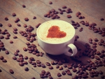 Cappuccino coffee with cocoa heart ♥