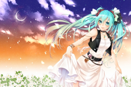 White Dress - pretty, cg, adorable, sweet, floral, nice, anime, beauty, anime girl, vocaloids, long hair, lovely, twintail, gowbn, miku, sky, smiling, happy, cute, hatsune, garden, crescent, green hair, white, hd, dress, divine, hatsune miku, beautiful, sublime, twin tail, moon, blossom, gorgeous, vocaloid, female, cloud, smile, twintails, kawaii, girl, flower, petals, miku hatsune, scene