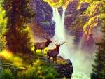 ★Elk over Waterfall★