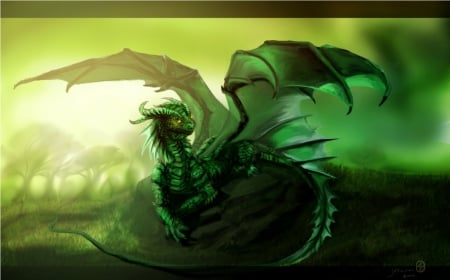 Baby Green Dragon - young, tiny, green, dragon, wing, baby