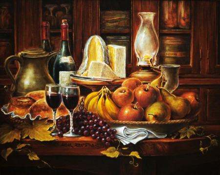 Still Life - cake, lamp, bottle, apples, wine, fruits, bananas, can, artwork, grapes, pears, leaves, painting