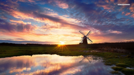 Windmill under Awesome Sky - windmills, sky, lakes, clouds, nature, reflections