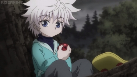 Killua - apple, pretty, hunter x hunter, male, lovely, adorable, sweet, cute, fruit, short hair, boy, nice, kawaii, killua, anime, silver hair