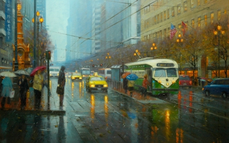 Rainy Day - umbrellas, trams, glimmer, cars, photography, city, people, grey, gloomy, rain, reflection, light