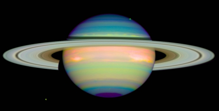 Hubble_Infrared_Saturn - rings, planets, hubble, space, infrared, saturn
