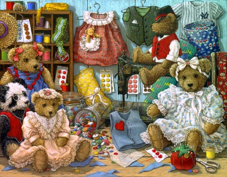 ..Teddy Bear Wear.. - sewing, pretty, draw and paint, lovely, beautiful, crafts, love four season, attractions in dreams, creative pre-made, teddy bears, paintings, weird things people wear, bears