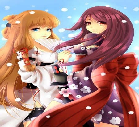 Sisters - japan, japanese, sisters, girls, kimono, orginal, long hair, friends