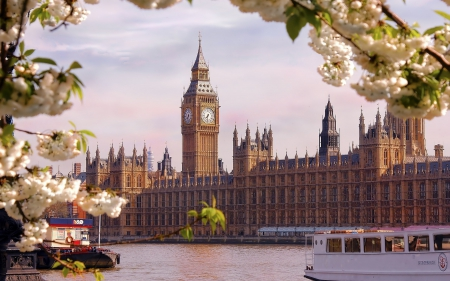 View of London in the Spring - architecture, cityscape, buildings, london, spring, big ben