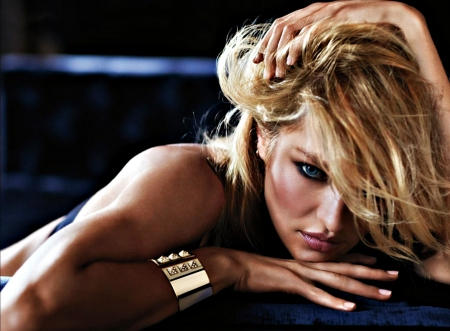 Candice Swanepoel - bracelet, model, max factor, blonde, woman, girl, jewel, Candice Swanepoel, blue