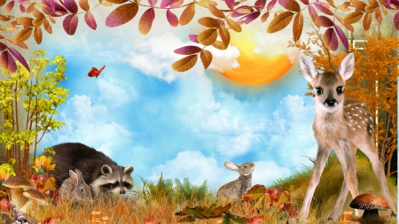 Fawn Friends Fall - fall, autumn, fawn, sky, clouds, raccoon, foliage, deer, tree, leaves, rabbits, sunshine, bunnies