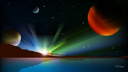 Aurora Space - stars, planets, moons, space, mountains, aurora borealis, sky, lake