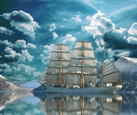 Sailing into the unknown - Ship, sailing, sea, blue
