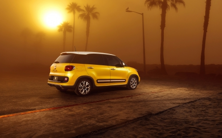 fiat 500l - yellow, sunset, italian, fiat