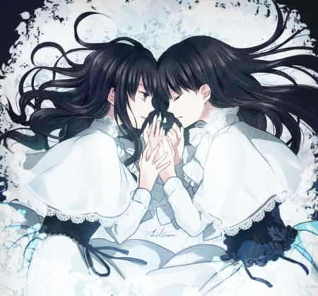 Love Sisters - pretty, dress, beautiful, ribbons, women, sweet, anime, beauty, girls, long hair, twins, black hair, art, female, lovely, black, cute, lady, white, love sisters
