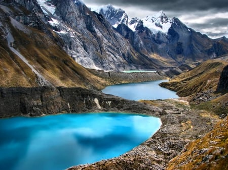 The Three Lagoons - lakes, turquoise water, beautiful, Andes, clouds, snowy peaks, mountain range