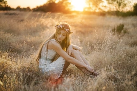 Day Dreaming ♥ - blond, beautiful, sunset, woman, photography, girl, dreamer, beauty, field