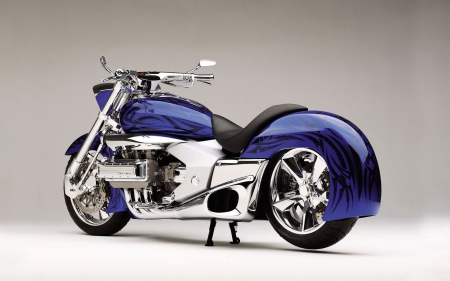 motorcycle - bike, chrome, blue, motorcycle