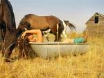 Bathing Cowgirl