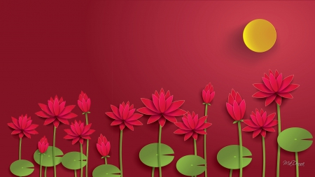 Red Lotus Sunshine - red, lotus, sun, cut outs, lilies, leaves, 3D, flowers, sunshine, paper