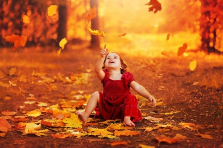 Autumn Emotion ♥ - kid, cute, autumn, fall season, leaves, baby, emotion