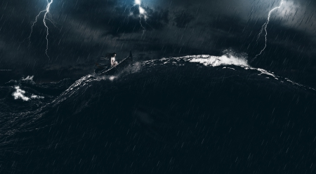 Lost in the sea - art, ocean, lightings, waves, clouds, storm, sea, whales, boats, water, dark, digital