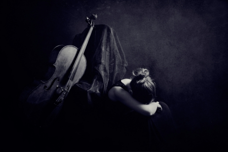 Sadness - music, shadow, woman, cello, instrument, girl, string, darkness, dark, sad, emotion