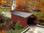 Covered Bridge in Vermont Town