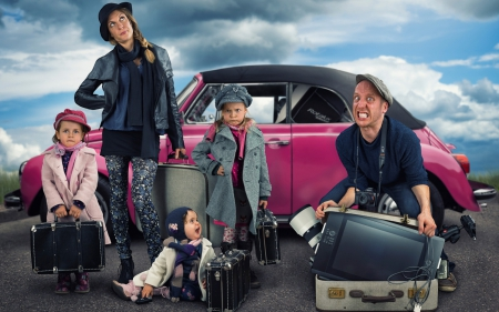 Ready for holiday! - family, autumn, children, woman, mother, suitcase, situation, father, hat, boy, girl, an, car, child, pink