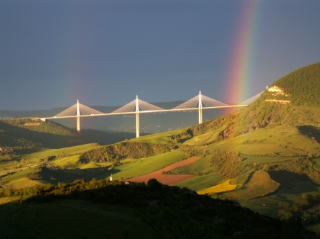 Rainbow over Mountains and Bridge - rainbows, nature, mountains, bridges
