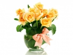 yellow roses with pink ribbon