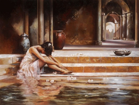 Moment of Solitude - water, girl, painting, sad, flowers, woman