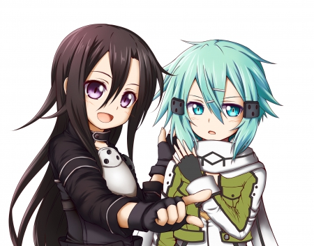 Kirito x Sinon - kazuto, kazuto kirigaya, adorable, shino asada, ggo, anime, anime girl, long hair, gun ggale online, anime couple, shino, chibi, short hair, cute, green hair, white, guy, kirito, asada shino, black hair, couple, female, male, kirigaya kazuto, sword art online, plain, kirigaya, sao, kawaii, boy, girl, asada, sinon, simple