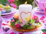 Flowers and Candle in a Plate